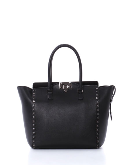 Valentino Rockstud Pagoda Shopper Tote Bag, Black