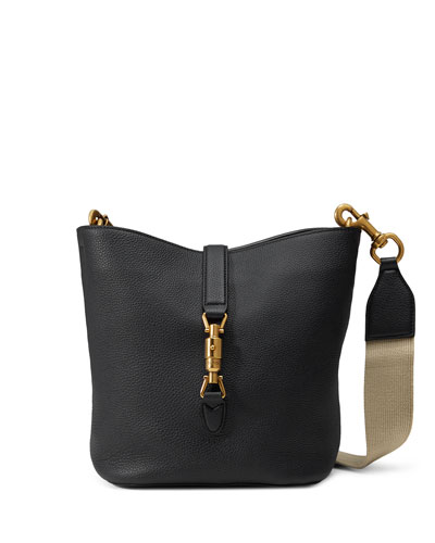Jackie Soft Leather Bucket Bag, Black