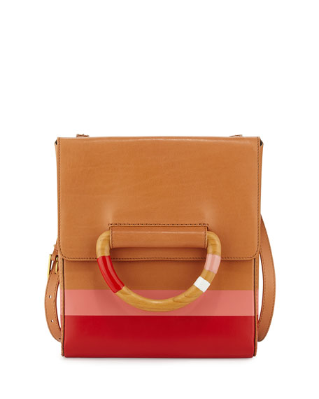Dipped Leather Crossbody Bag, Natural/Red