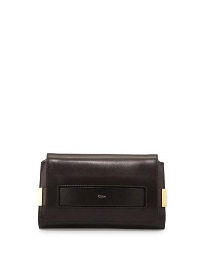 Elle Medium Clutch Bag w/ Shoulder Strap, Black