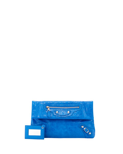 Giant Envelope Crossbody Bag, Bright Blue