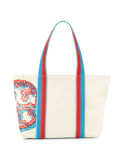 Squiggle Logo Small Beach Tote Bag, Squiggle Multi