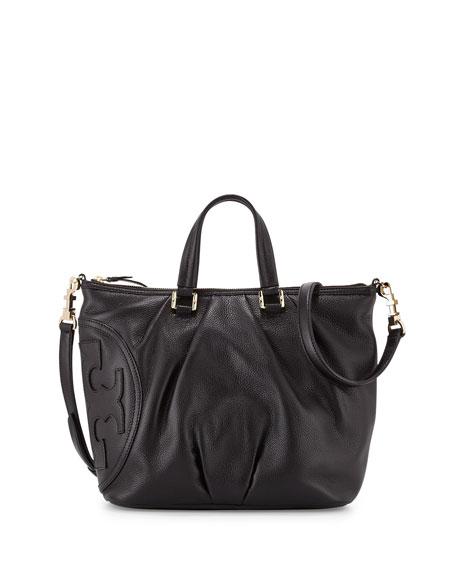 Tory Burch All-T Leather Satchel Bag, Black