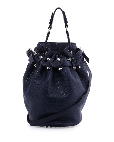Diego Bucket Bag, Neptune Blue/Nickel Hardware