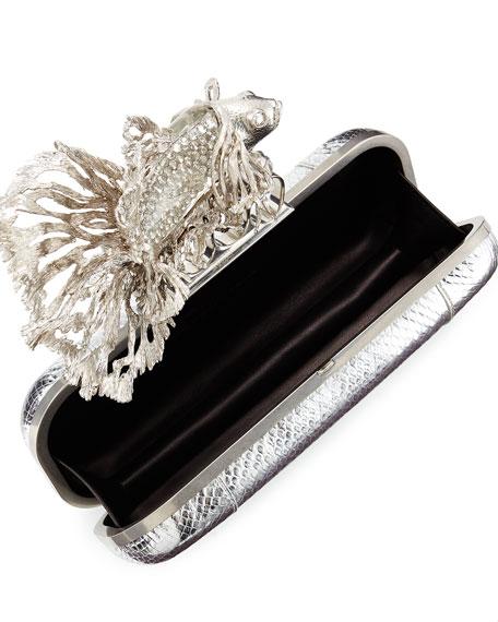 Jeweled Fish Long Knuckle Box Clutch Bag