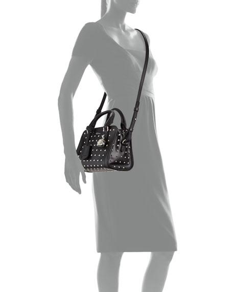 Mini Padlock Studded Satchel Bag, Black