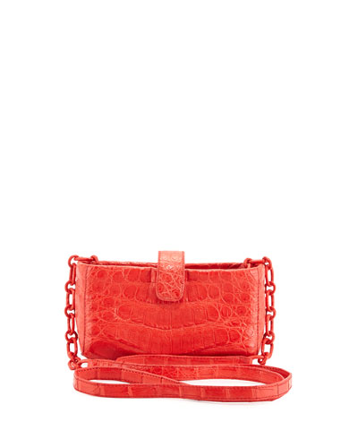 Crocodile Phone Crossbody Bag, Red