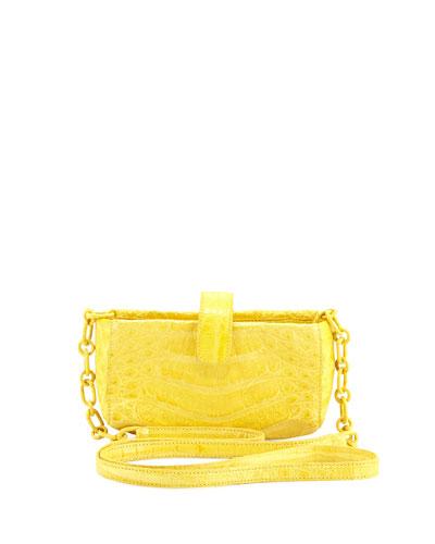 Crocodile Phone Crossbody Bag, Yellow