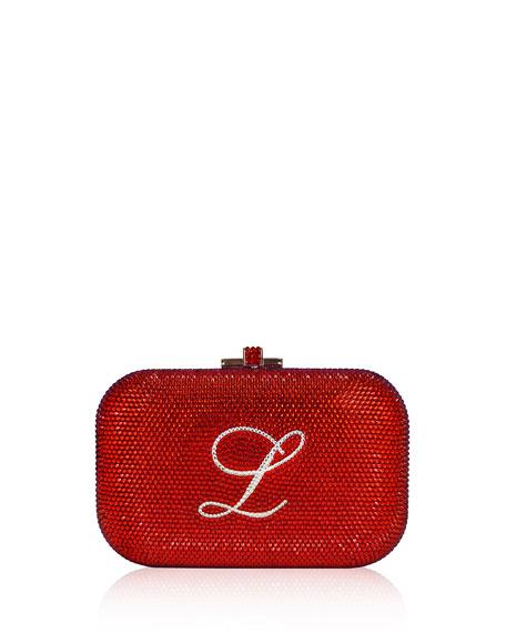 Judith Leiber Couture Monogram Crystal Slide-Lock Clutch Bag,
