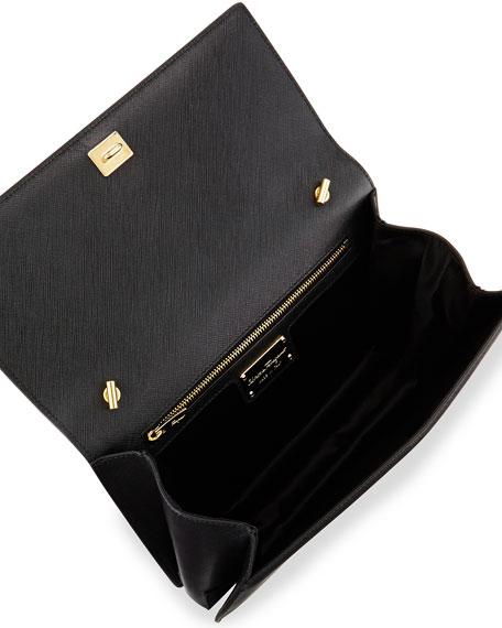 Ginny Leather Bow Shoulder Bag, Nero