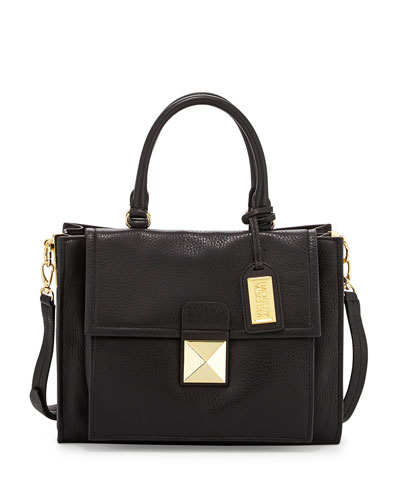 Finnie Small Leather Tote Bag, Black