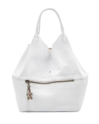 Canotta Smooth/Woven Leather Shoulder Bag, White