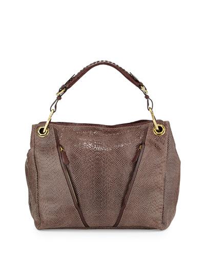 Bette Embossed Leather Shoulder Bag, Mushroom