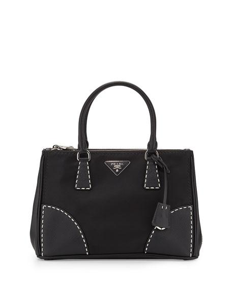 prada handbags and wallets - Prada Tessuto and Saffiano Stitch Tote Bag, Black (Nero)