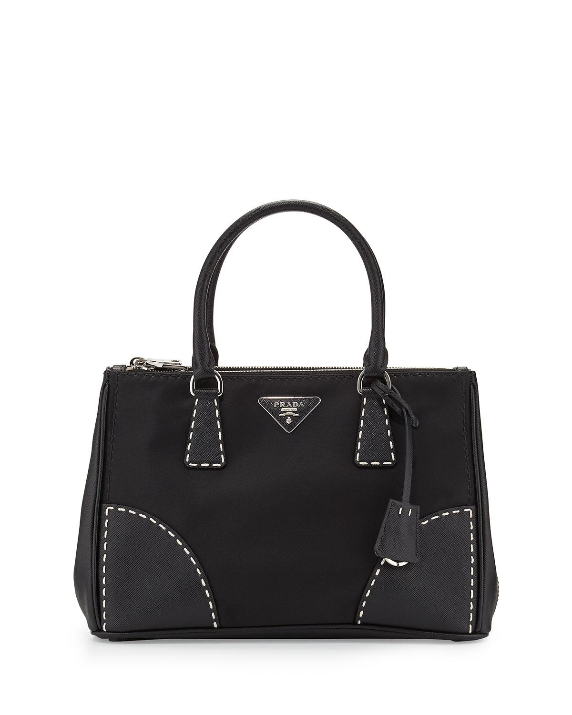 616537d5feca Prada Tessuto and Saffiano Stitch Tote Bag, Black (Nero) | Neiman Marcus