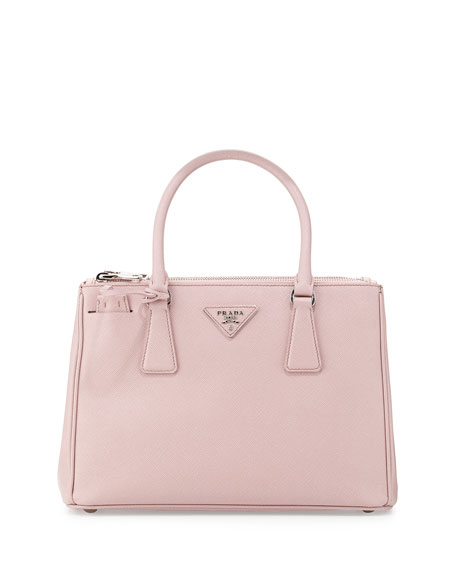 prada saffiano lux tote black - Prada Saffiano Lux Double-Zip Tote Bag, Light Pink (Mughetto)