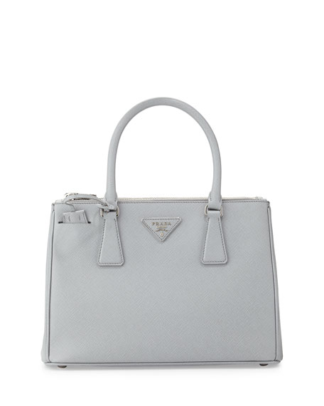 Prada Saffiano Lux Double-Zip Tote Bag, Light Gray (Gratino) c6dda405fa