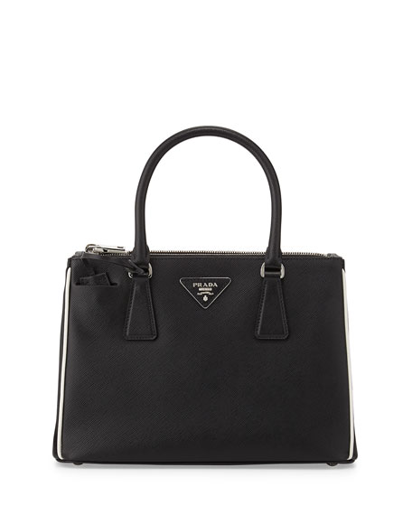 authentic prada bags prices - Prada Saffiano Lux Double-Zip Tote Bag, Black/White (Nero+Talco)