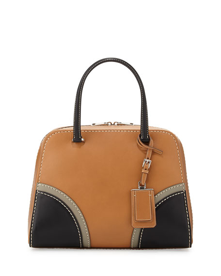 Prada Vachetta Satchel Bag, Natural/Black (Naturale Nero)