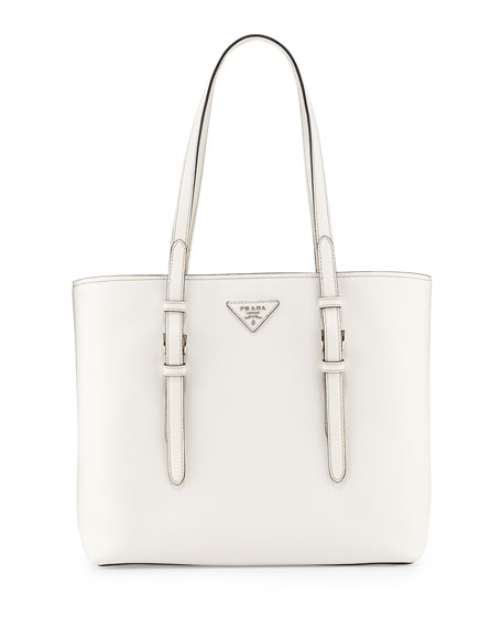 prada mens wallet sale - Prada Saffiano Soft Tote Bag, White (Bianco)