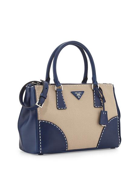 Prada City Stitch Tote Bag, White/Navy (Corda+Navy)
