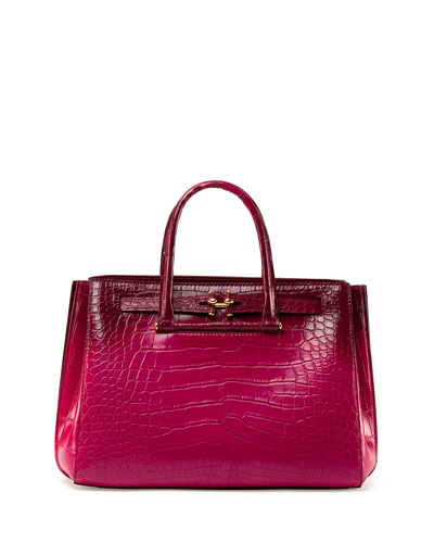 Madison 32 Shaded Crocodile Tote Bag, Fuchsia