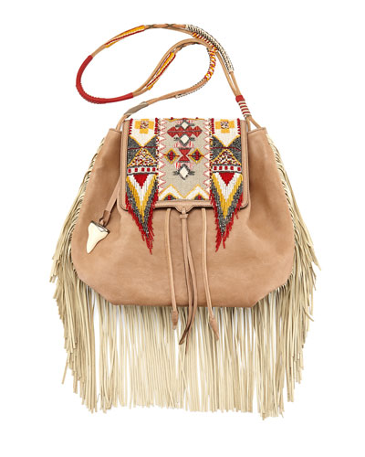 Beaded Fringe Drawstring Satchel, Pink/Multi