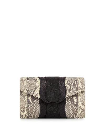Herzog Snake & Stingray Clutch Bag, Natural/Black
