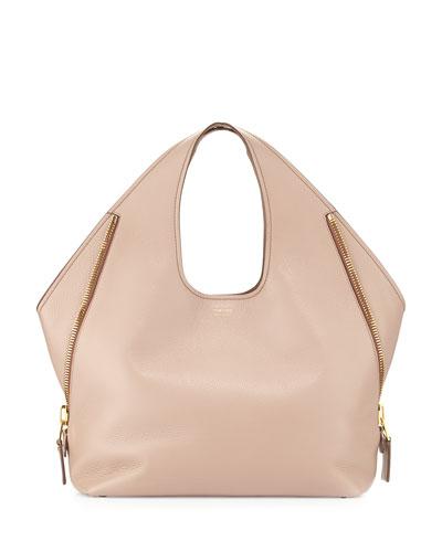 Jennifer Side-Zip Medium Leather Hobo Bag, Blush Nude