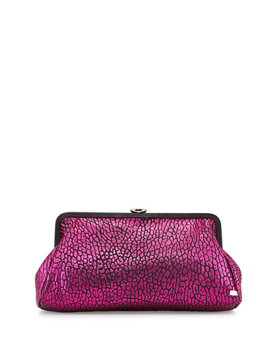 Beekman Metallic Clutch Bag, Bubble Pink