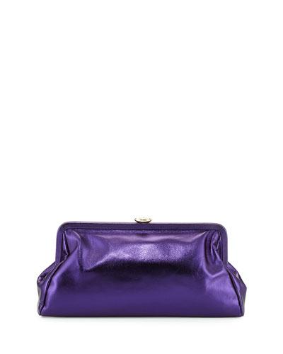 Beekman Metallic Clutch Bag, Purple Metal