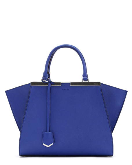 Fendi 3 Jours Leather Satchel Bag, Neon Blue