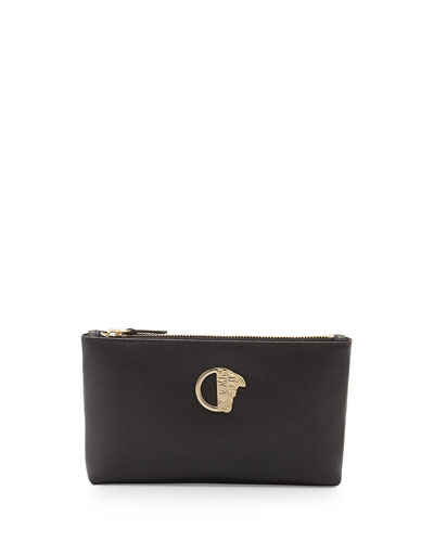 Leather Top-Zip Pouch Bag, Black