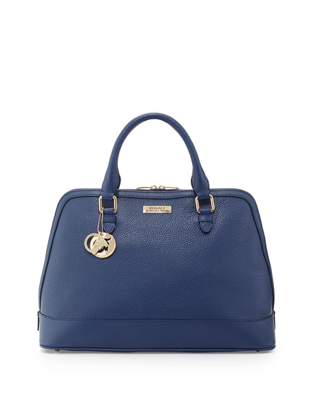 Versace Leather Two-Handle Dome Satchel Bag, Bright Blue