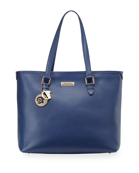 Pebbled Leather Shopping Tote Bag, Bright Blue