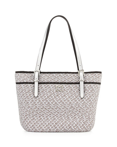 Jav Squishee Metallic Tote Bag, Silver/Black