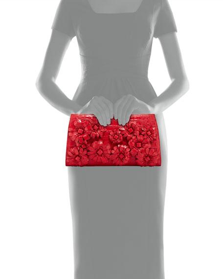 Slicer Crocodile Flower-Applique Clutch Bag, Red