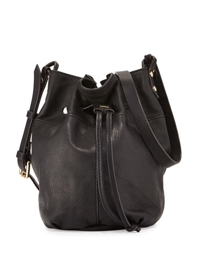 Bella Small Grained Leather Bucket Bag, Black