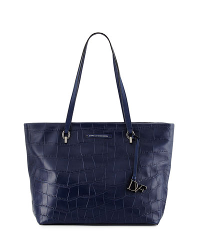 Voyage Ready-to-Go Croc-Print Tote Bag, Dark Night
