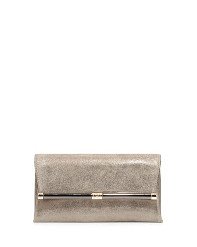 Metallic Suede Evening Clutch Bag, Stardust