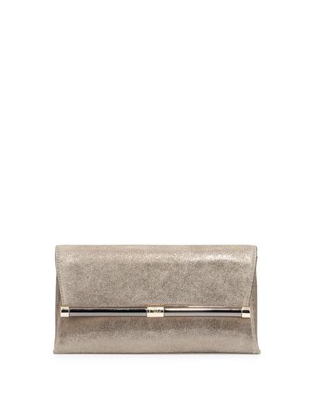 Metallic Suede Evening Clutch Bag, Stardust