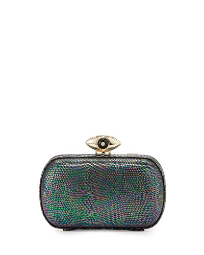 Evil Eye Minaudiere Evening Clutch, Hologram Granite