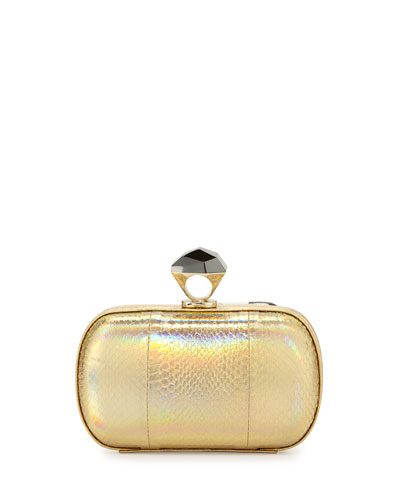 Powerstone Minaudiere Evening Clutch, Hologram Gold