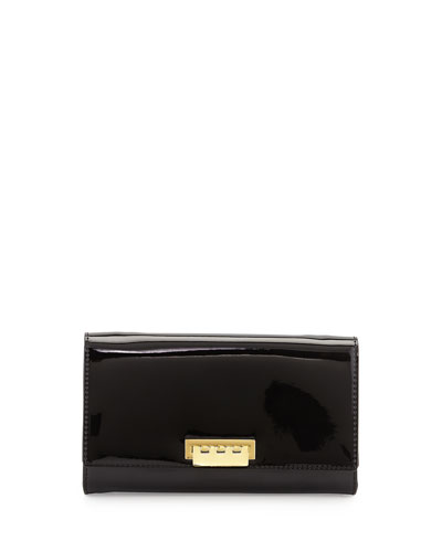 Eartha Patent Wallet-on-a-Chain, Black