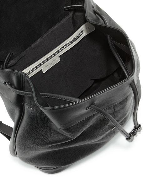 Pilot Leather Flap-Top Backpack, Black