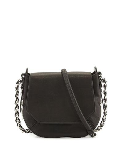 Bradbury Mini Flap Chain Hobo Bag, Black