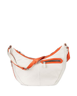Emmy Contrast-Trim Hobo Bag, White/Multi