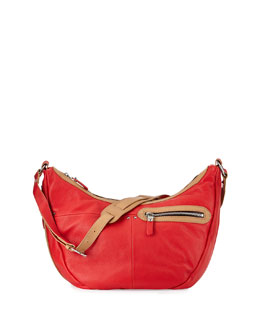 Emmy Contrast-Trim Hobo Bag, Berry/Multi