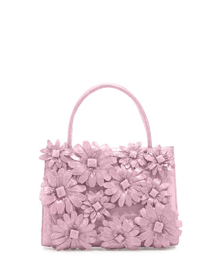 Mini Wallis Flower Crocodile Satchel Bag, Baby Pink Matte