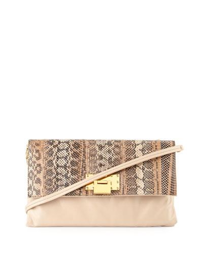 Dakota Leather & Snake Crossbody Bag, Latte